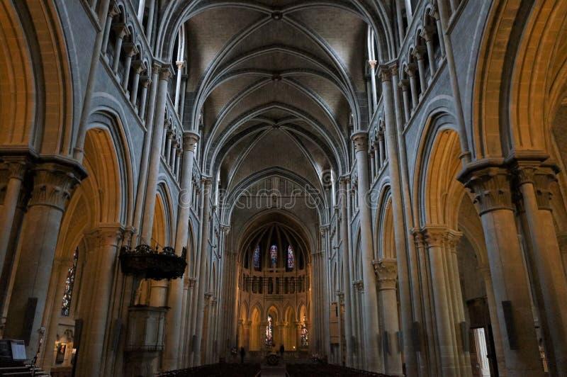 Binnenland van de Kathedraal Notre-Dame, Lausanne, Zwitserland stock afbeeldingen