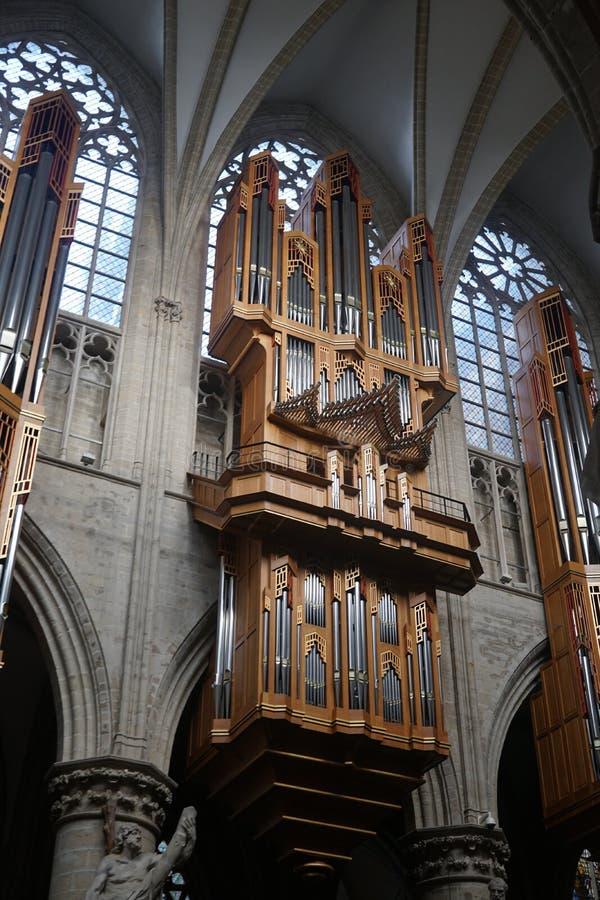 Binnenland van de Kathedraal van St Michael en St Gudula in Brussel, België stock afbeelding
