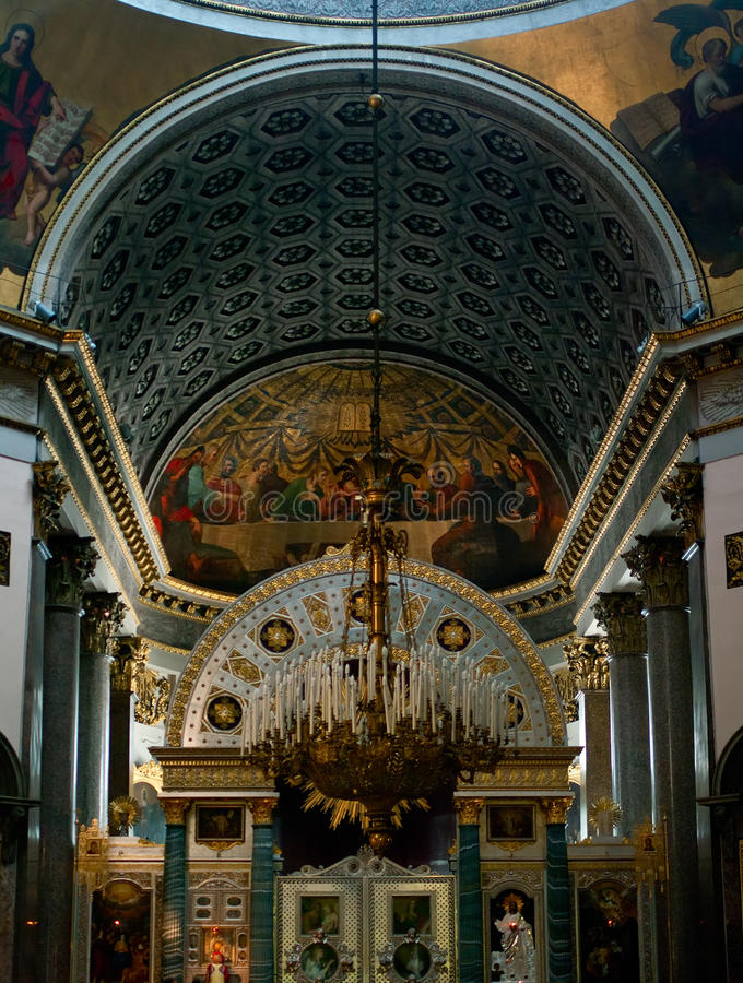 Binnenland van de Kazan kathedraal stock foto