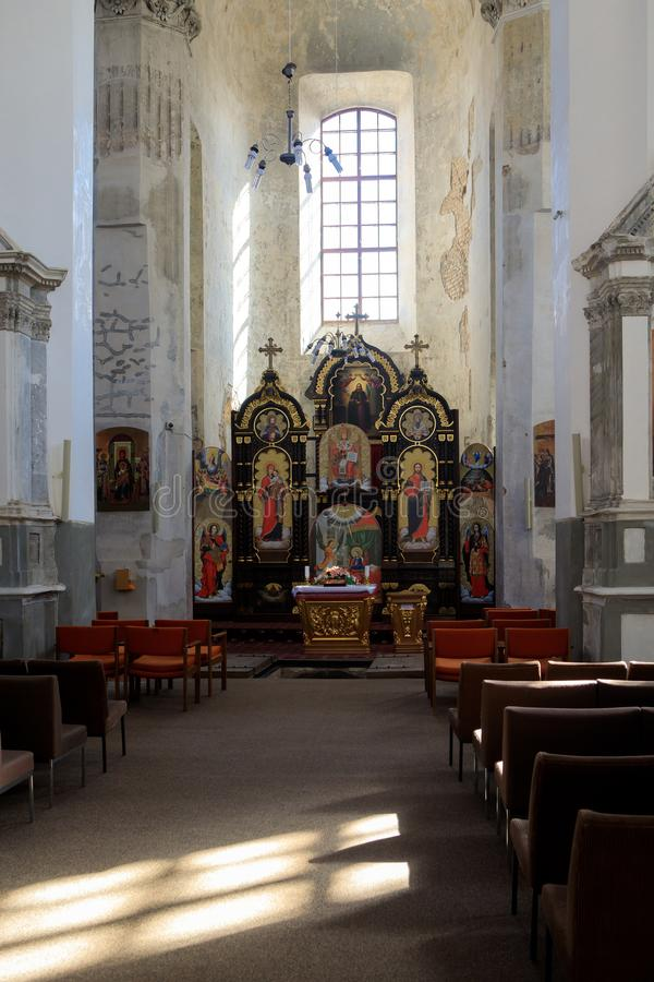 Binnenland van de kerk van de Heilige Drievuldigheid Uniates stock fotografie
