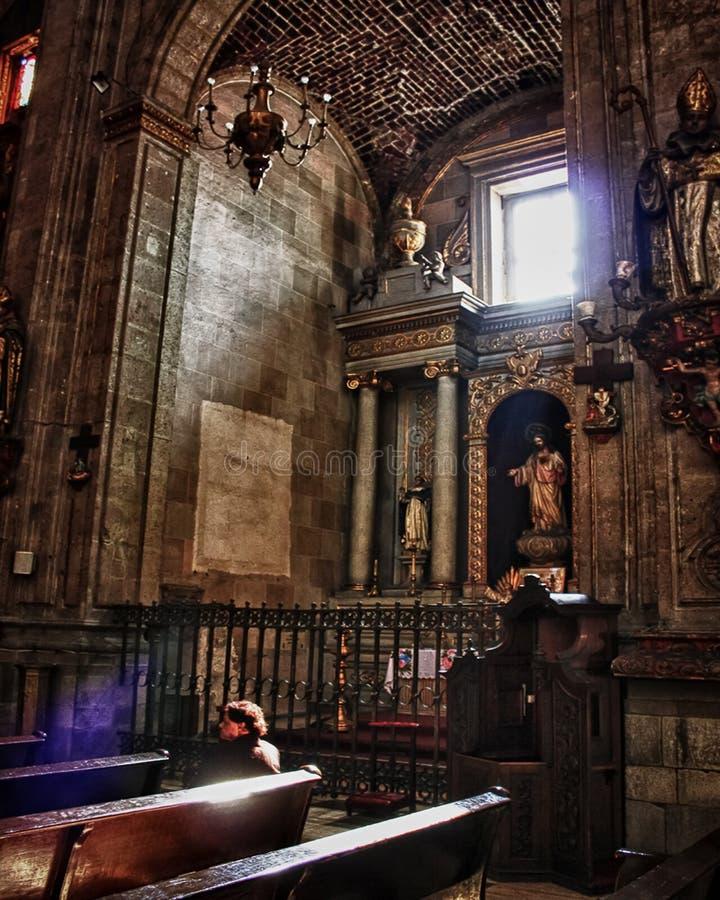 Binnenland van de kerk van Santo Domingo M?xicostad royalty-vrije stock fotografie