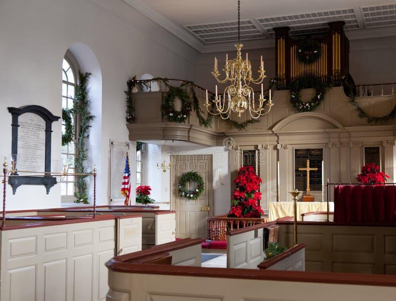 Binnenland van de Kerk van de Parochie Bruton stock foto