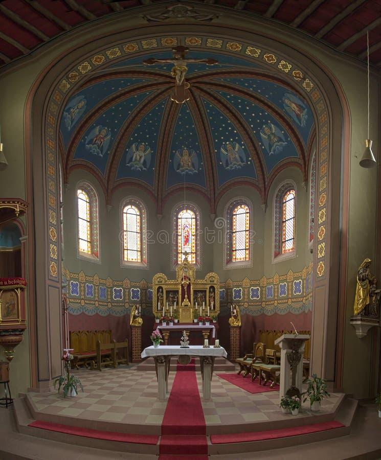 Binnenland van de kerk van St Anna in Sulzbach, Gaggenau, Duitsland royalty-vrije stock foto's