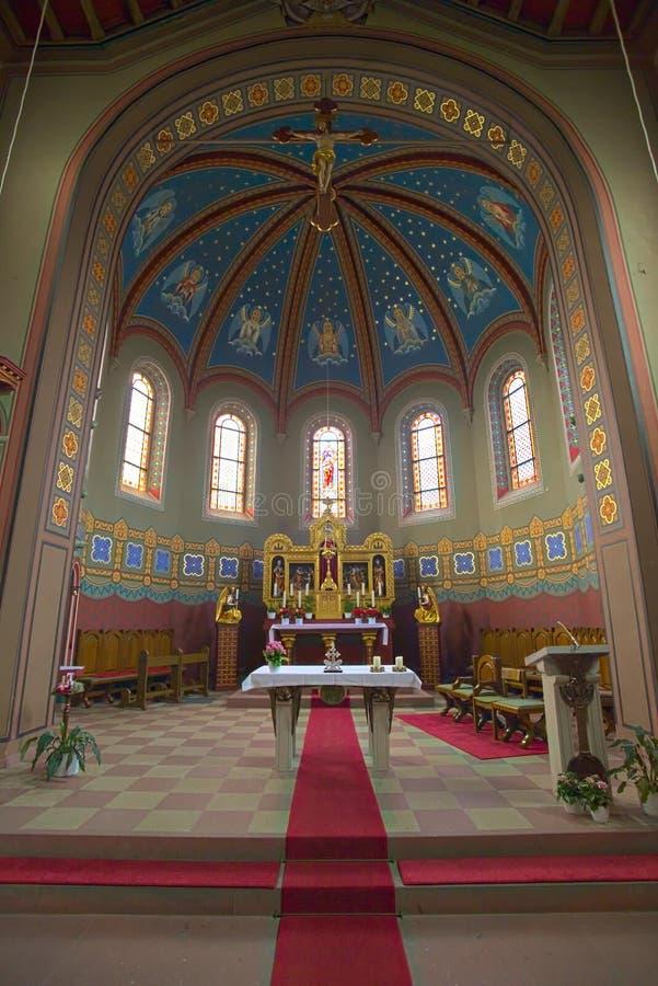 Binnenland van de kerk van St Anna in Sulzbach, Gaggenau, Duitsland royalty-vrije stock foto