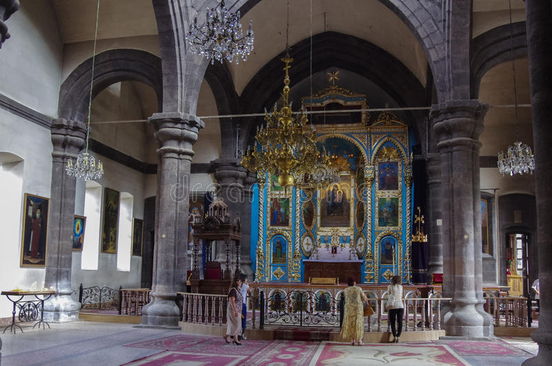 Binnenland van de kerk van Yot Verk in Gyumri, Armenië royalty-vrije stock afbeelding