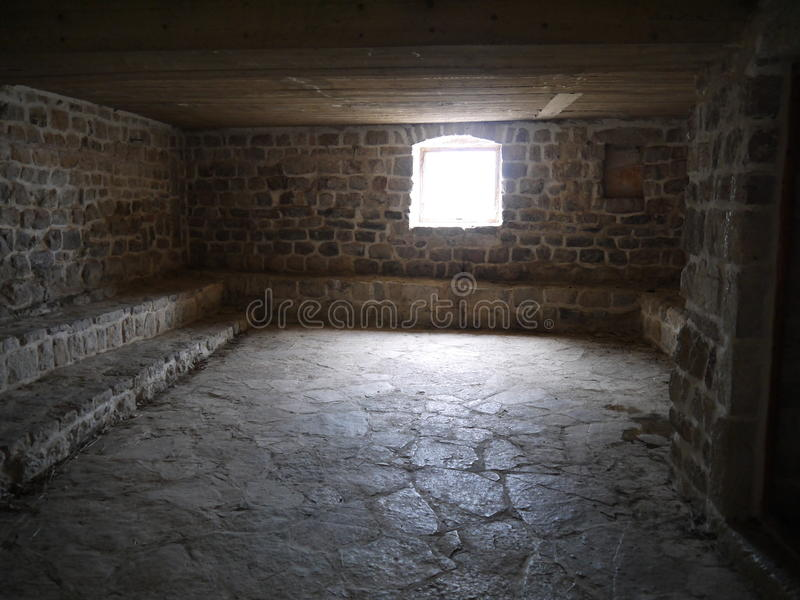 Binnenland van de lege ruimte in de oude bouw stock foto