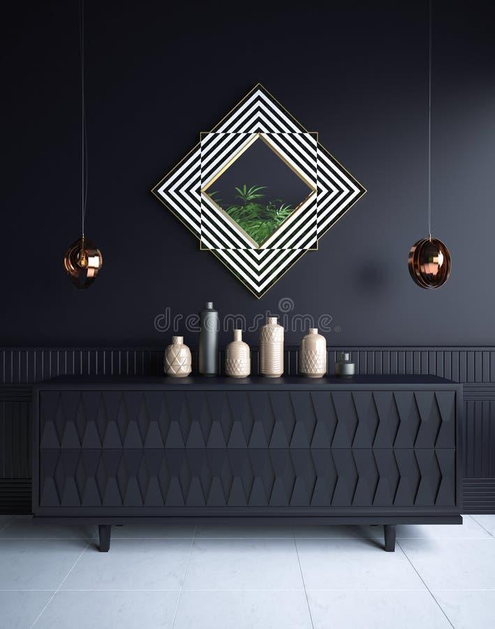 Binnenland van de luxe het minimalistische donkere woonkamer met ladenkast, vazen, kroonluchters en spiegel royalty-vrije stock afbeelding