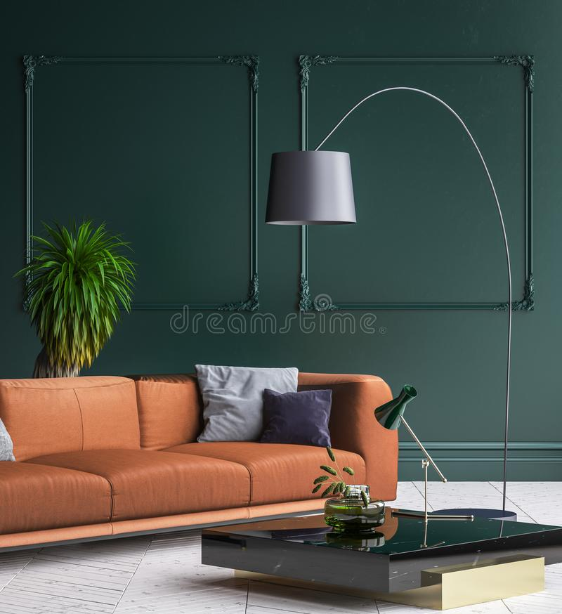 Binnenland van de luxe het moderne donkergroene woonkamer met witte parketvloer, bruine bank, staande lamp en koffietafel royalty-vrije illustratie
