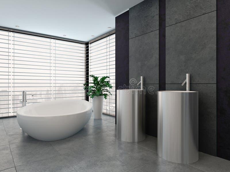 Binnenland van de luxe het moderne zwart-witte badkamers vector illustratie