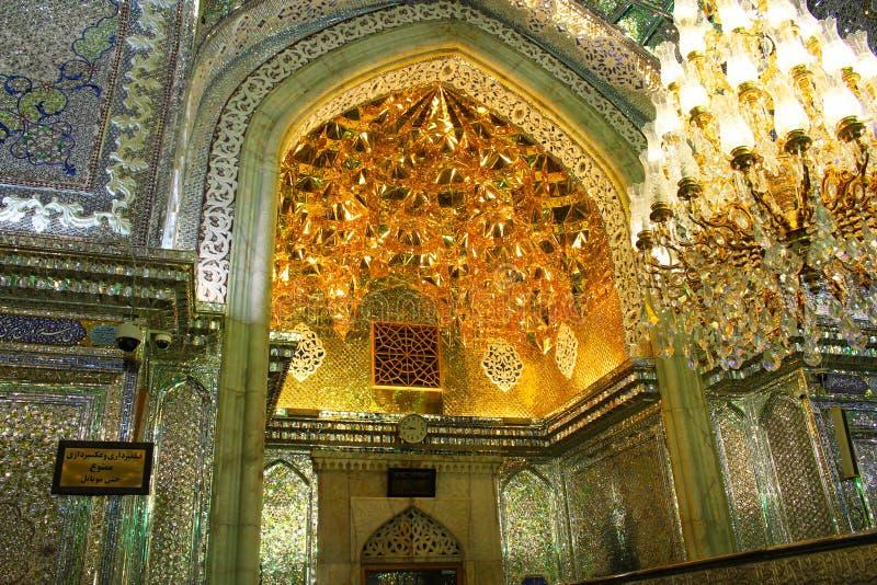 Binnenland van de moskee van Sjahceragh, Shiraz, Iran royalty-vrije stock foto