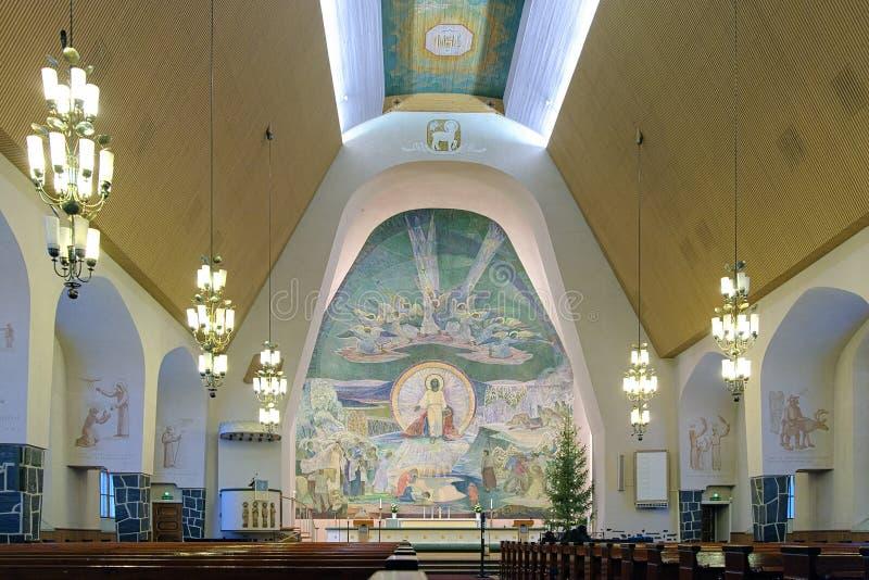 Binnenland van de Rovaniemi Kerk, Finland stock foto
