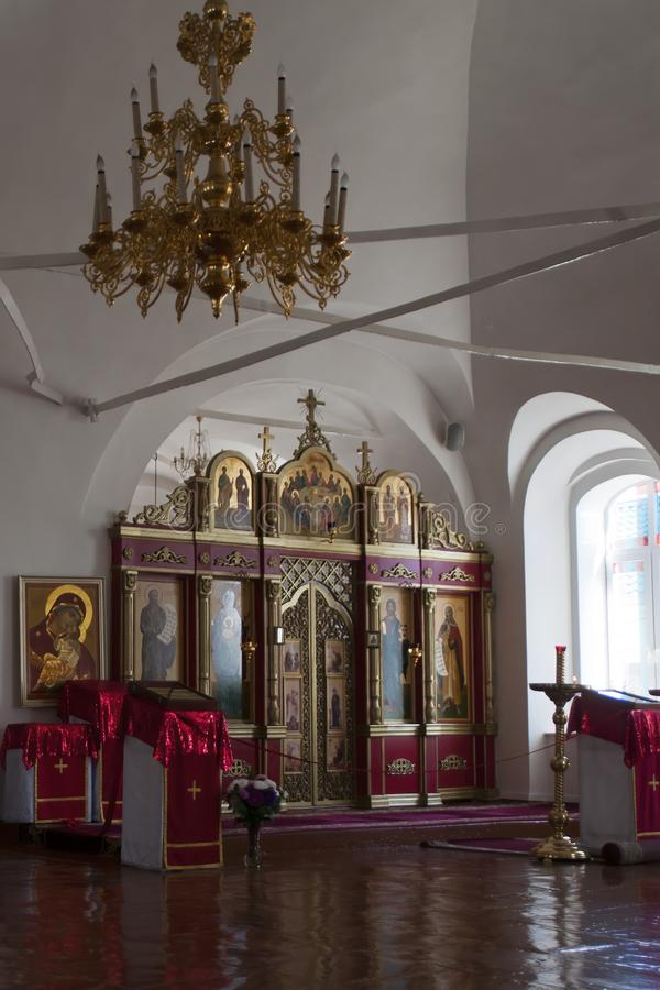 Binnenland van de Russische Orthodoxe kerk van Preobrazheniya Gospodnya die van 1800 dateert en één van t is royalty-vrije stock foto's