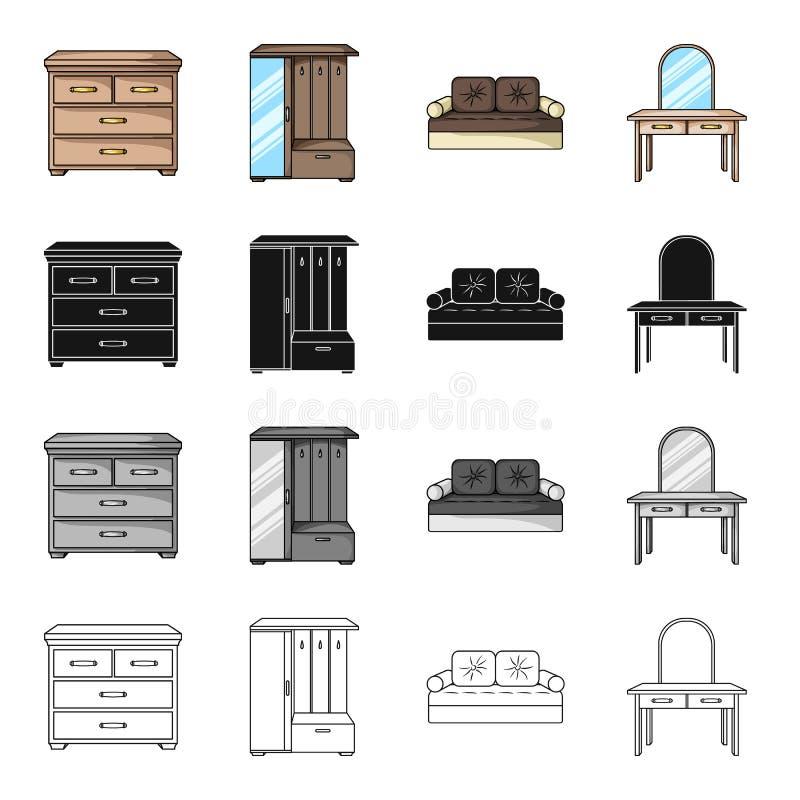 Binnenland van de slaapkamer, bed, ladenkast, meubilair in de gang, toilettafel Meubilair en huisbinnenland royalty-vrije illustratie