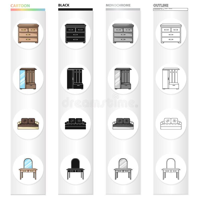 Binnenland van de slaapkamer, bed, ladenkast, meubilair in de gang, toilettafel Meubilair en huisbinnenland stock illustratie