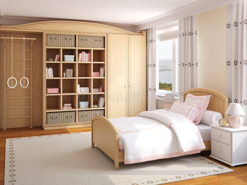 Binnenland van de slaapkamer van het meisje. royalty-vrije illustratie