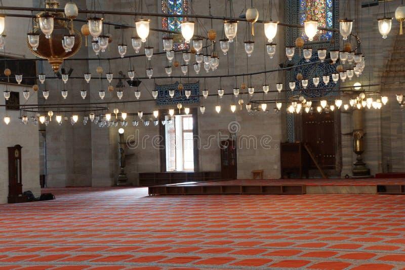 Binnenland van de Suleymanie-Moskee royalty-vrije stock foto