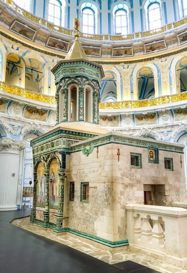 Binnenland van de verrijzeniskathedraal in het Nieuwe klooster van Jeruzalem Istra, Moskou stock foto's
