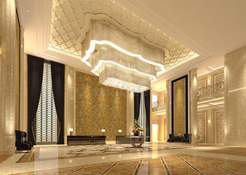 Binnenland van de zaal 3D illustratie van de hotelontvangst stock illustratie