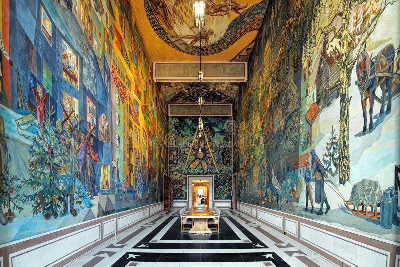 Binnenland van de Zaal van de Galerijkrohg van het Oosten in het Stadhuis van Oslo, Noorwegen stock afbeeldingen