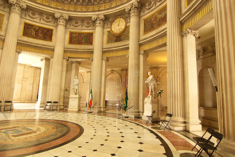 Binnenland van Dublin Cityhall, Ierland royalty-vrije stock afbeelding
