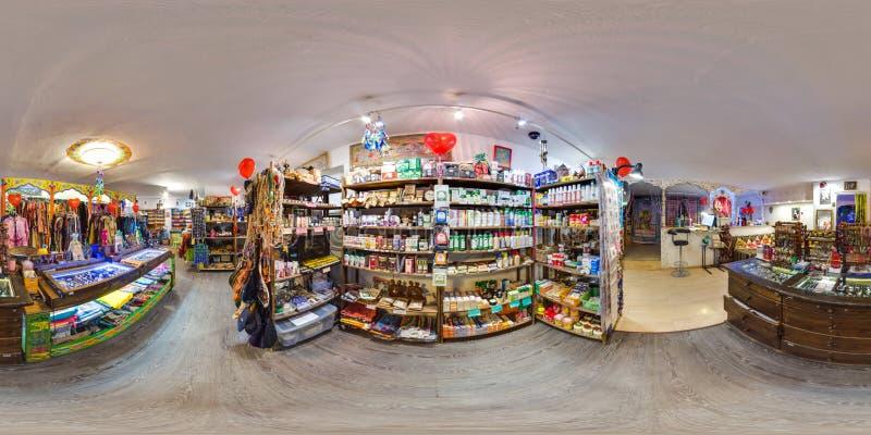 Binnenland van eco-opslag met kleren en yogapunten 3D sferisch panorama met 360 graad het bekijken hoek klaar voor virtuele werke royalty-vrije stock foto