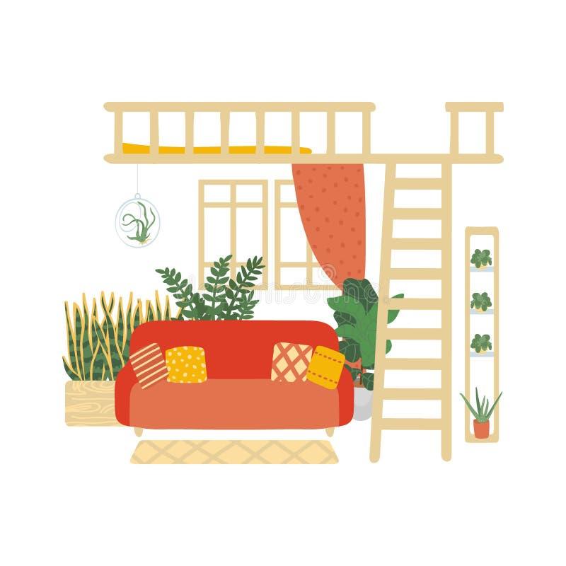 Binnenland van een comfortabele die woonkamer op witte achtergrond wordt ge?soleerd In huisdecor met installaties in potten Vecto royalty-vrije illustratie