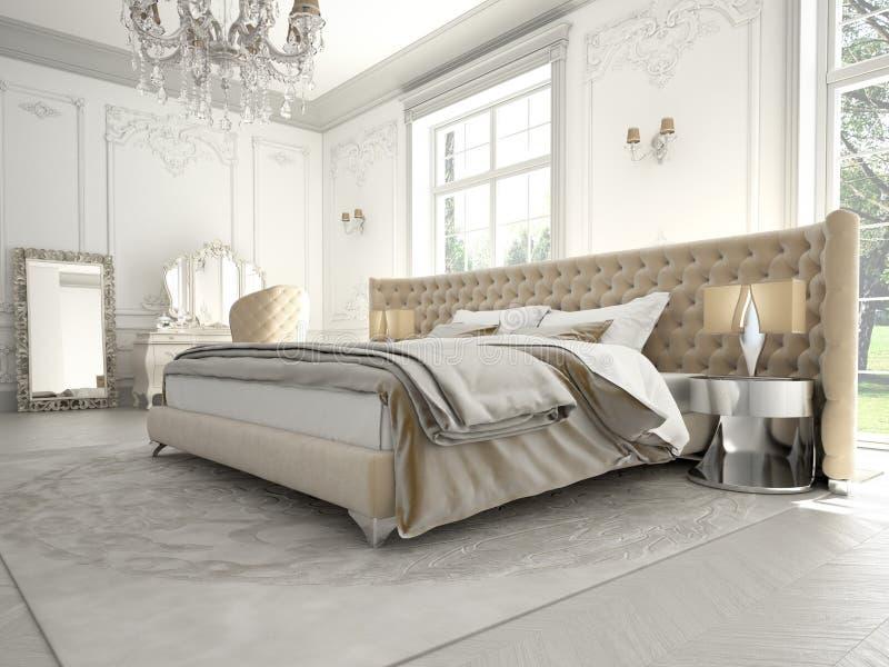 Binnenland van een klassieke stijlslaapkamer in luxe royalty-vrije stock afbeeldingen