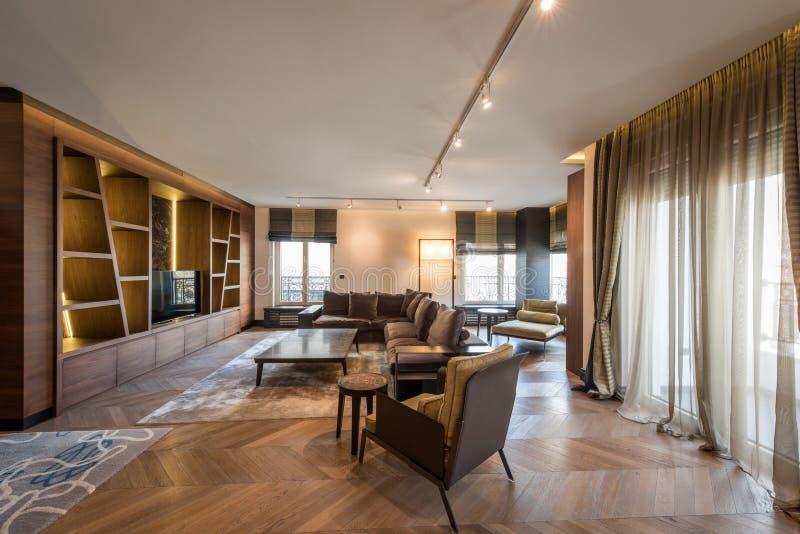 Binnenland van een luxeflat, moderne open planwoonkamer stock afbeeldingen