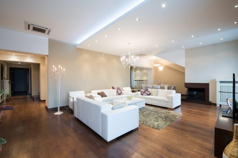 Binnenland van een moderne ruime woonkamer met open haard royalty-vrije stock foto's