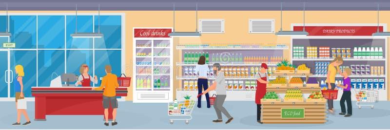 Binnenland van een moderne supermarkt met goederen, kopers en werknemer royalty-vrije illustratie