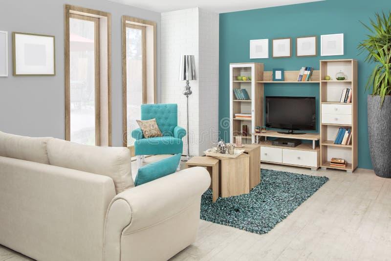 Binnenland van een moderne woonkamer in kleur royalty-vrije stock afbeelding