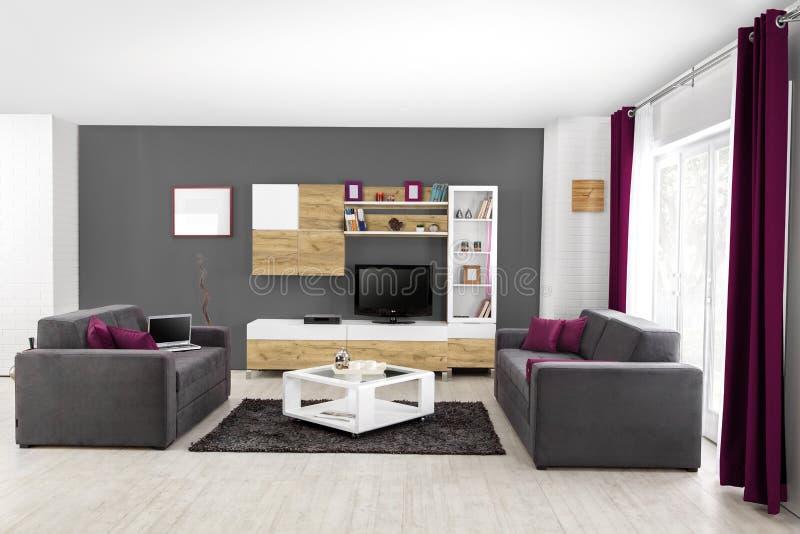Binnenland Van Een Moderne Woonkamer In Kleur Stock Afbeelding ...