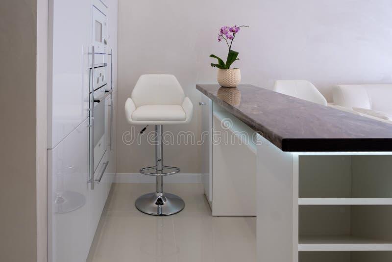 Binnenland van een nieuwe moderne flat in Skandinavische stijl met keuken en werkplaats stock foto's