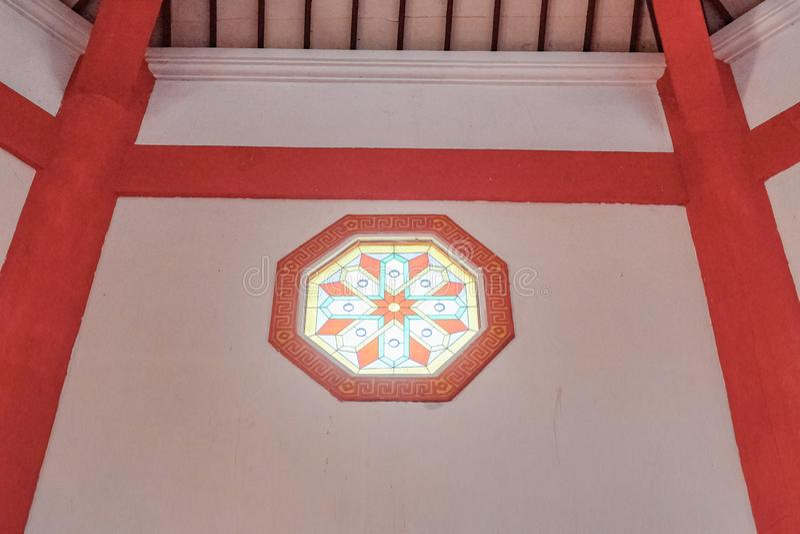 Binnenland van grote moskee cheng hoo in Purbalingga, Indonesi? stock fotografie