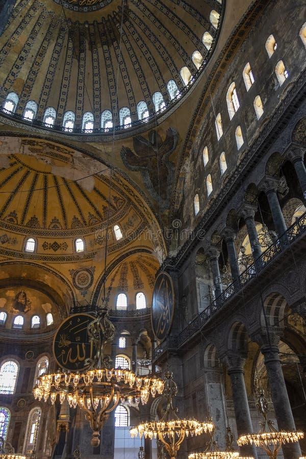 Binnenland van Hagia Sofia Aya Sophia in Istanboel, Turkije stock foto's