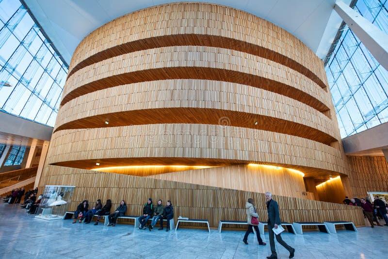 Binnenland van het de Operahuis van Oslo stock foto