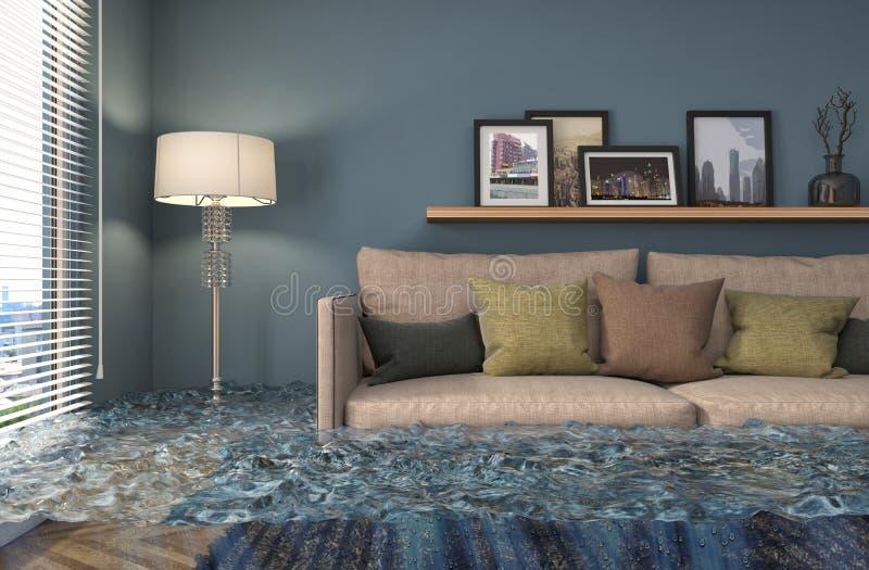 Binnenland van het huis met water wordt overstroomd dat 3D Illustratie royalty-vrije illustratie