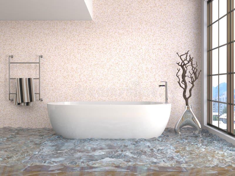 Binnenland van het huis met water wordt overstroomd dat 3D Illustratie stock illustratie