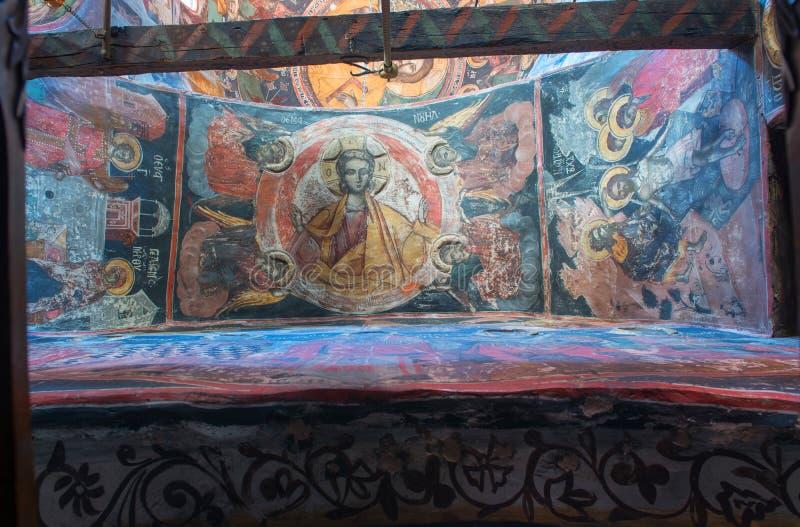 Binnenland van het Klooster van de Heilige Drievuldigheid in Meteora stock fotografie