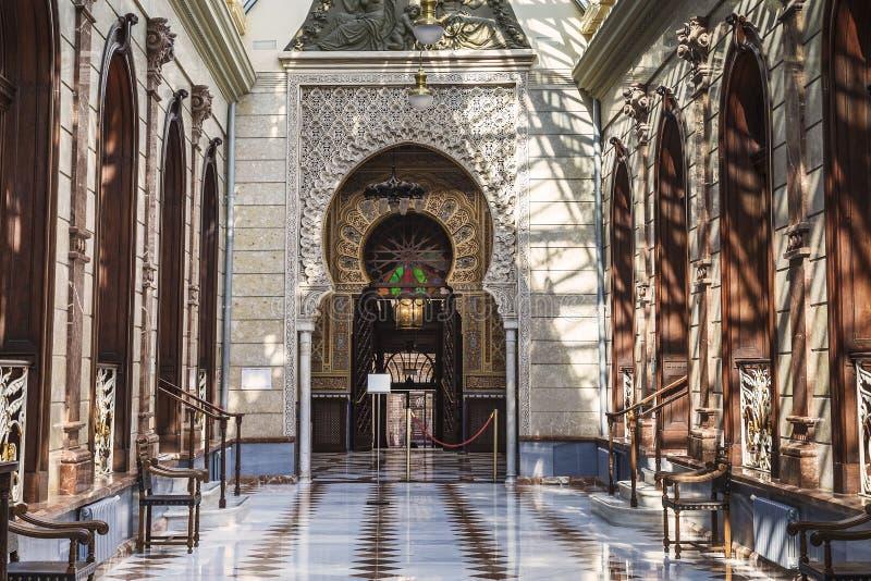 Binnenland van het Koninklijke Casino in Murcia, Spanje royalty-vrije stock afbeelding