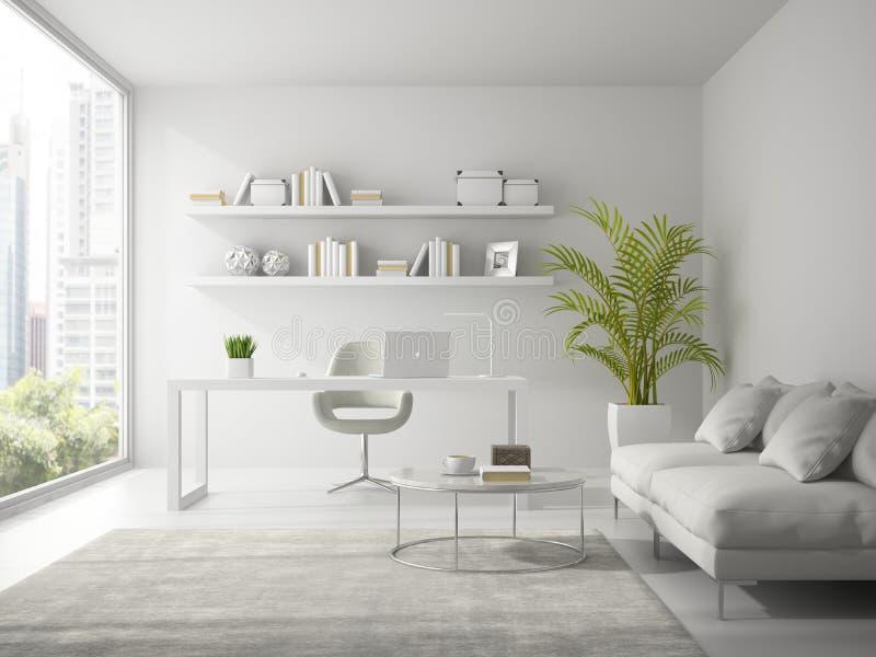 Binnenland van het moderne ontwerp witte bureau 3D teruggeven royalty-vrije stock foto's