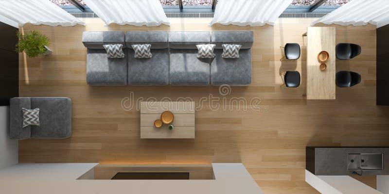 Binnenland van het moderne woonkamer hoogste mening 3D teruggeven royalty-vrije stock afbeelding
