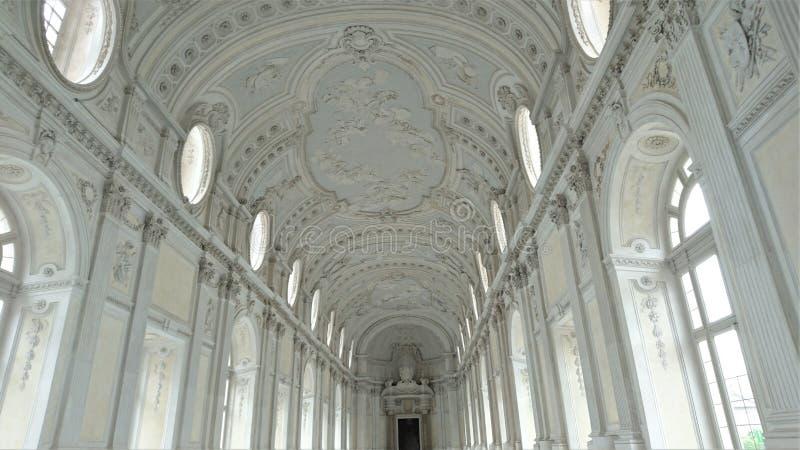 Binnenland van het mooie paleis van Venaria Reale dichtbij Turijn royalty-vrije stock foto