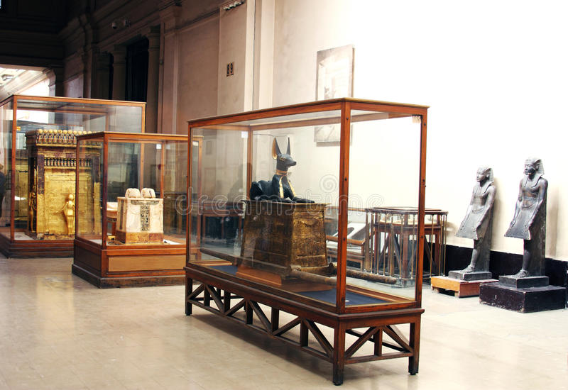 Binnenland van het Museum van Egyptische Antiquiteiten (Egyptisch Museum), Kaïro, Egypte, Noord-Afrika, Afrika royalty-vrije stock fotografie