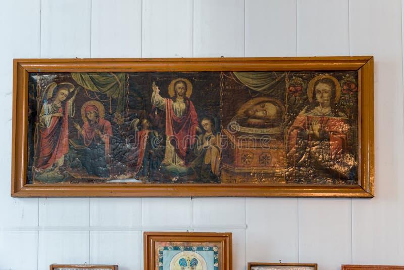 Binnenland van het Oekra?ense Orthodoxe Patriarchaat van Kerkmoskou De Oekra?ne, het gebied van Odessa, Kodyma, 2012, altaar, ico stock illustratie