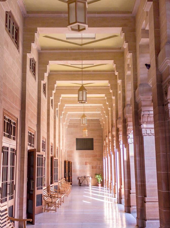 Binnenland van het Paleis van Umaid Bhawan, India royalty-vrije stock afbeelding