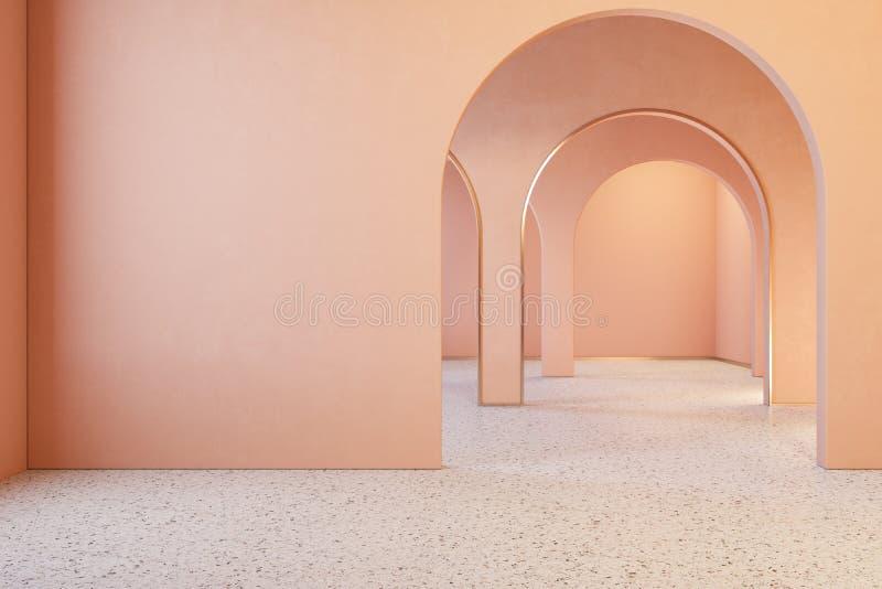 Binnenland van het perzik het roze koraal met archs en terrazzovloer royalty-vrije illustratie