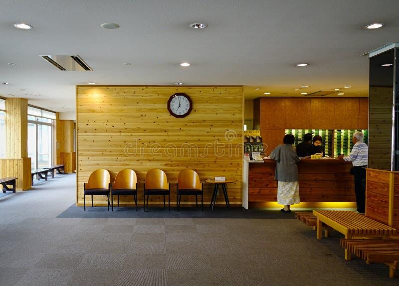 Binnenland van houten hotelhal in Akita, Japan royalty-vrije stock afbeeldingen
