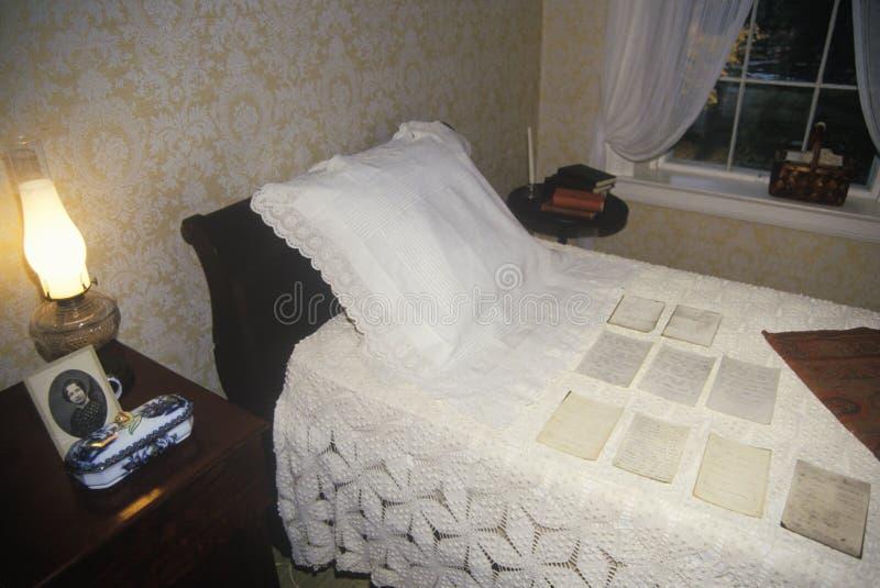 Binnenland van huis van Emily Dickinson, Amherst, doctorandus in de letteren stock foto's