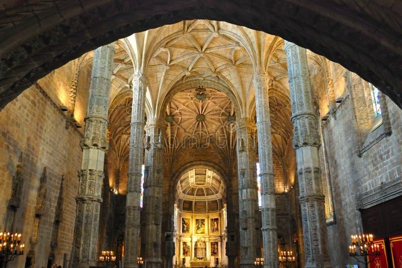 Binnenland van Jeronimos Klooster, Lissabon royalty-vrije stock afbeelding